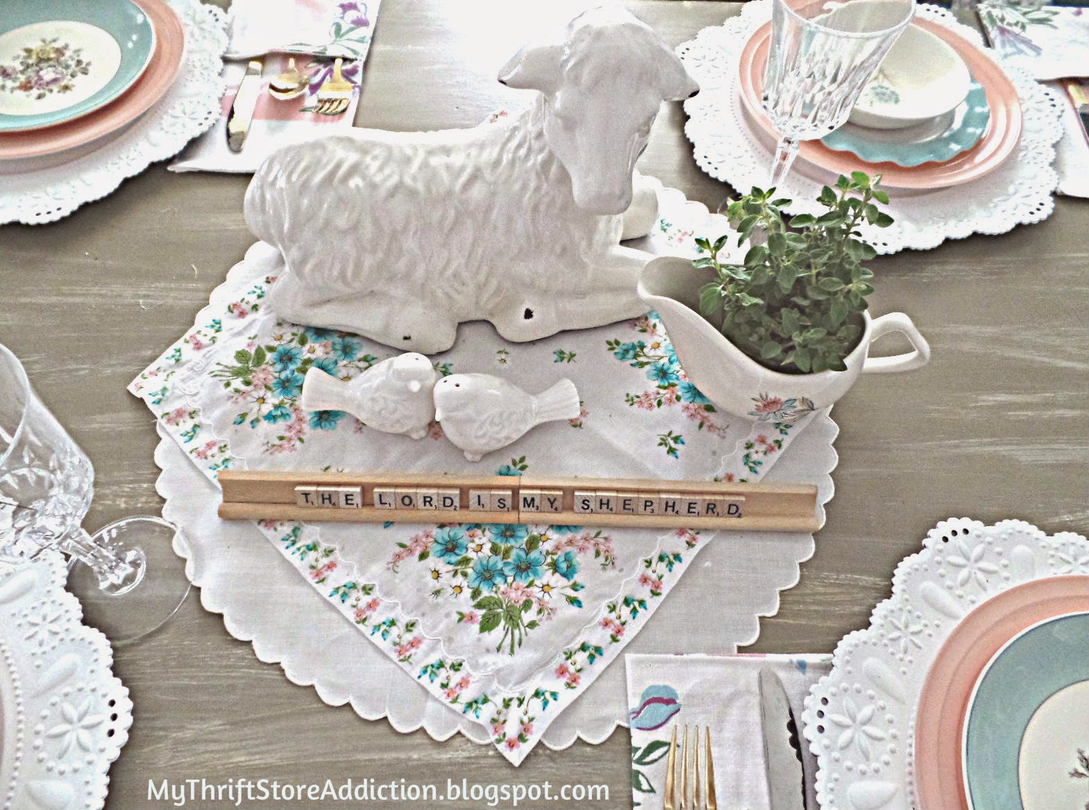 White lamb centerpiece