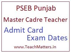 image : PSEB Master Cadre Teacher Admit Card 2020 Exam Dates  @ TeachMatters
