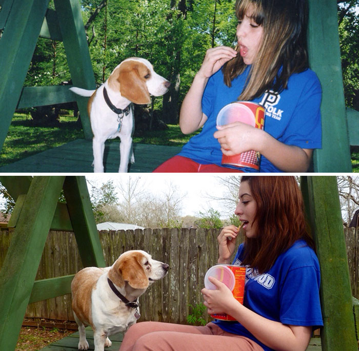 30 Heart-Warming Photos Of Dogs Growing Up Together With Their Owners - My Best Friend And Me 10 Years Ago And Now
