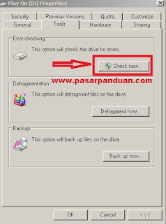 lakukan error checking pada kartu memori dengan pc atau laptop
