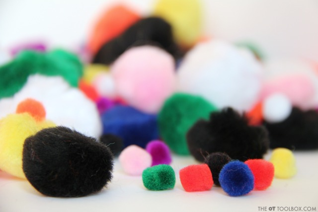 Craft supplies to use in a snowman craft that helps kids with fine motor skills.