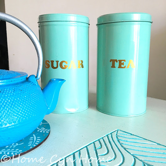 Turquoise and gold tin canisters DIY - Home Cyn Home