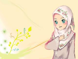 kartun animasi muslimah imut dengan jilbab berbunga