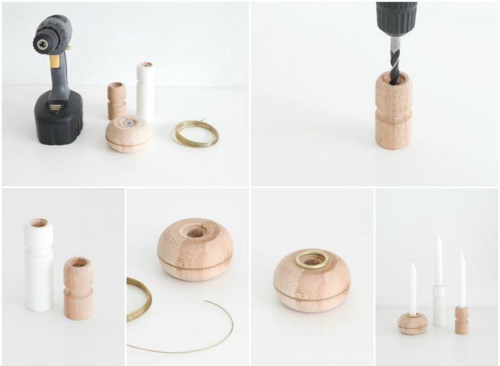 Decoraci n f cil diy lowcost candelabros con patas de madera for Patas para muebles madera