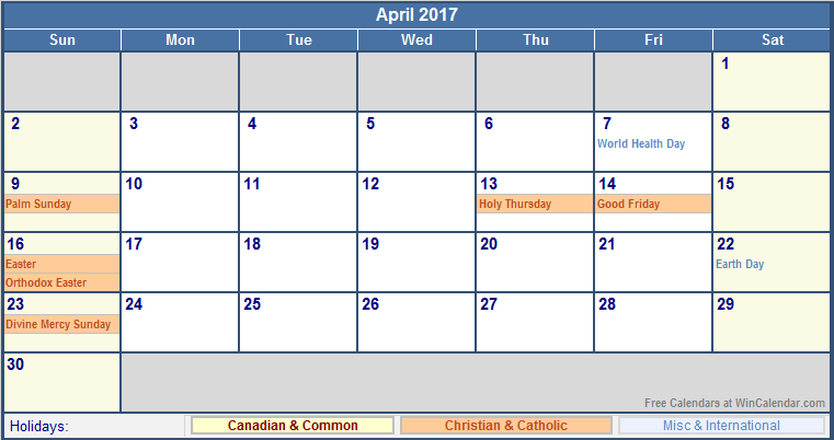 Calendar April With Holidays : Calendar with holidays us uk canada australia