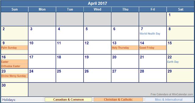 April 2017 Holiday Calendar, 2017 Calendar Holidays, 2017 Calendar Holidays Print, 2017 Calendar Holidays Printable, 2017 Calendar Holidays Template, 2017 Calendar with Holidays, 2017 Calendar with Holidays Printable