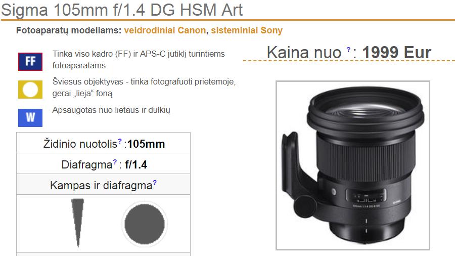 Скриншот страницы сайта eFoto с ценой объектива Sigma 105mm f/1.4 DG HSM Art