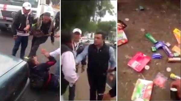 Funcionario del PRI golpea a anciano que vende paletas y patea a joven que lo defendía (VIDEO).