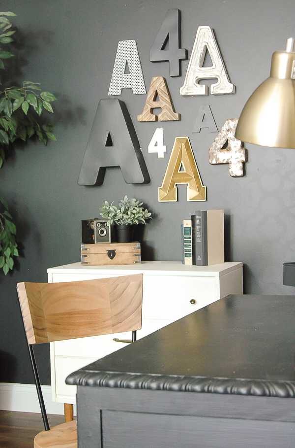 Dark gray, white and wood tone office