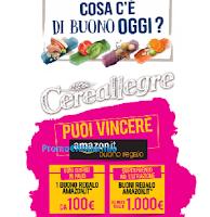 Logo Vinci con Cereallegre 56 buoni Amazon da 100€ e 1 da 1.000€