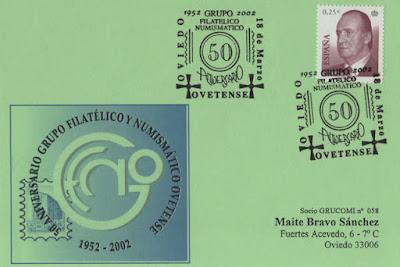 Tarjeta del matasellos del 50 aniversario del Grupo Filatélico y Numismático de Oviedo