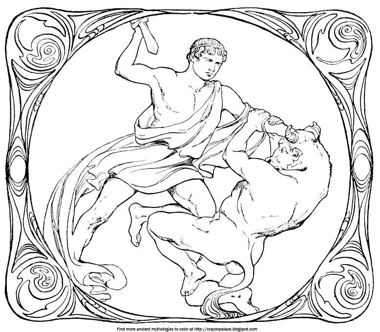a coloring page of theseus and the minotaur