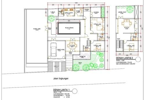 Contoh denah rumah mewah 2 lantai dengan kolam renang