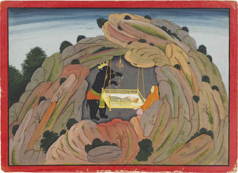 Jambavan Gives the Syamantaka Jewel to his Child to Play. An Illustration to the Bhagavata Purana - Indian Miniature Painting, Basohli-Guler style, Circa 1760-65