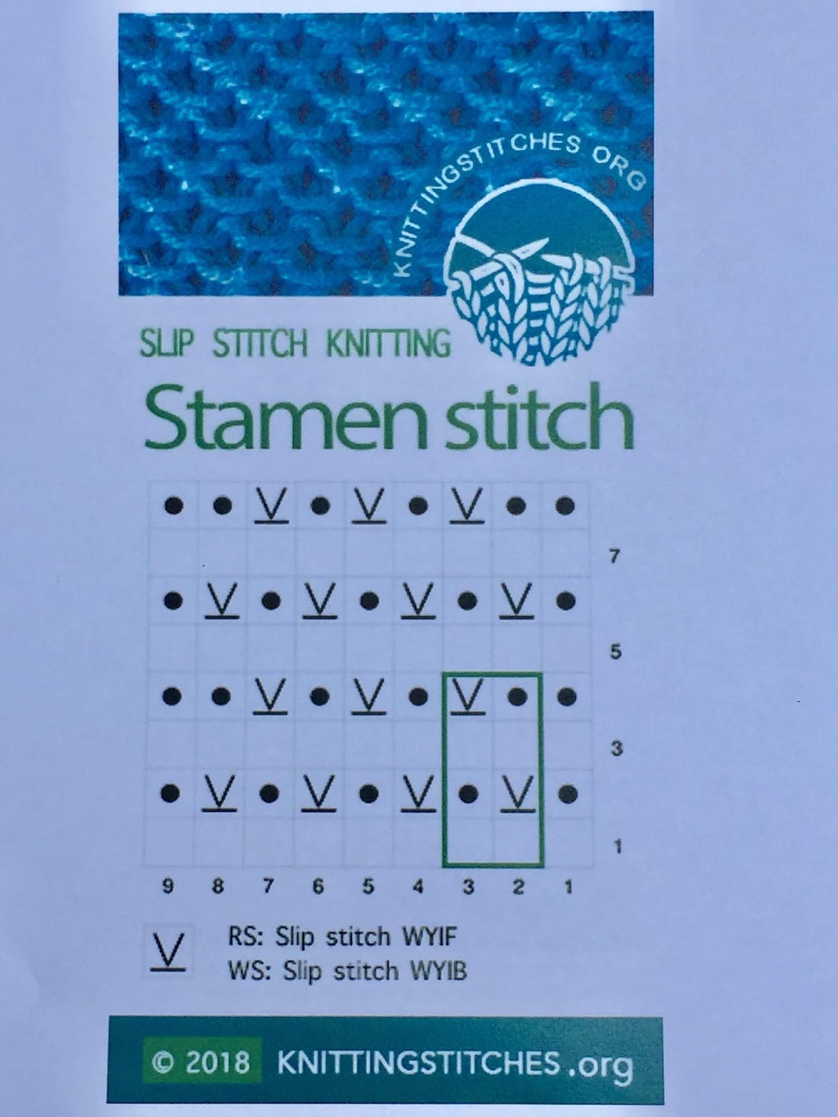 Knitting Stitches 2018 - Stamen pattern
