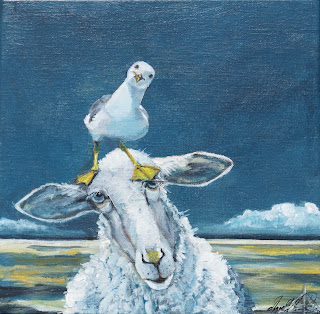 galleri, malleri, ayoe lise lysgaard pløger, art, kunstfår,sheep, glad, hav marsk,