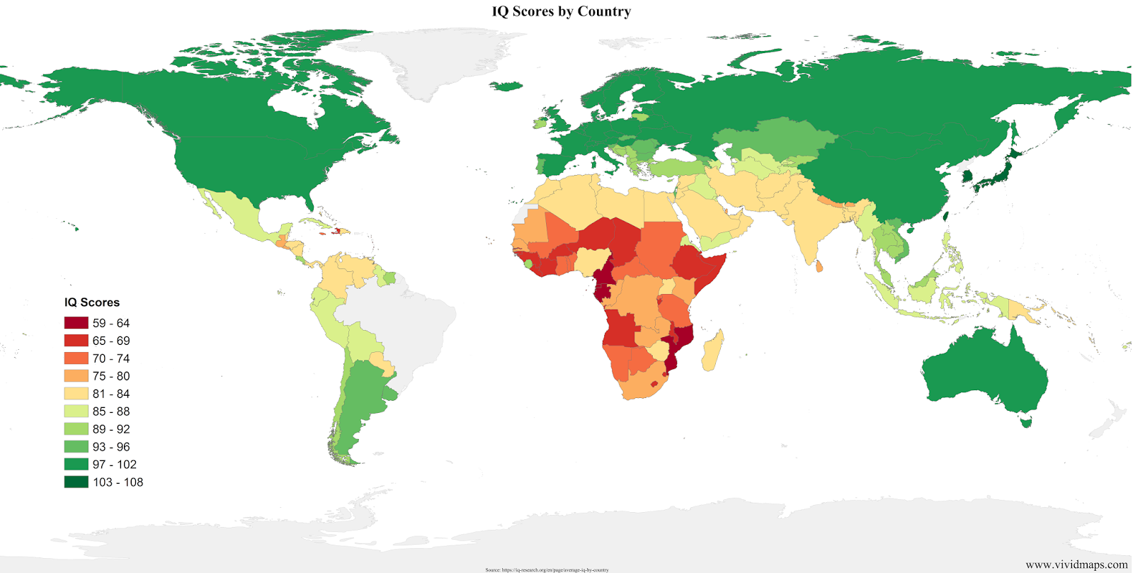 IQ Scores by country - Vivid Maps