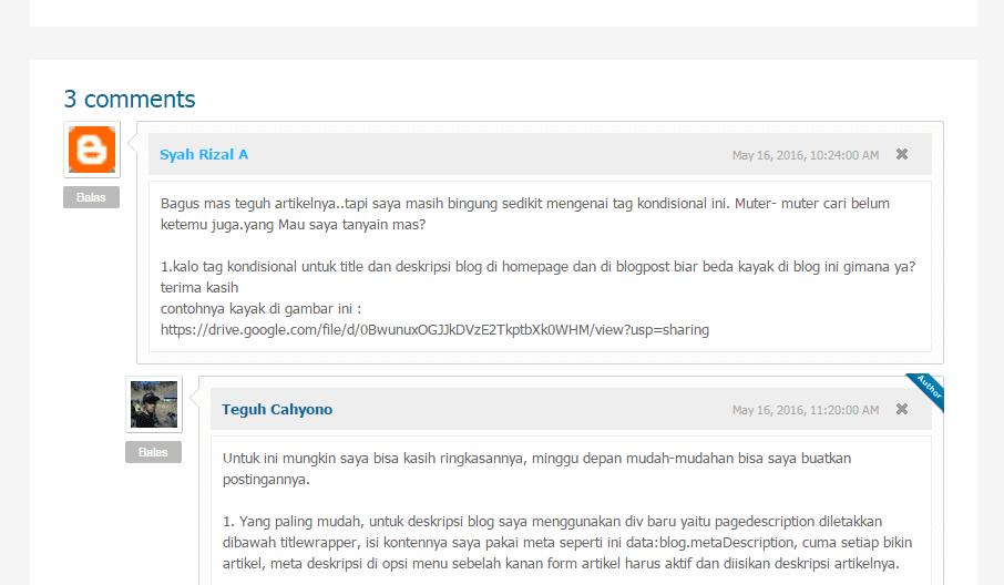 Pertanyaan pengunjung tentang cara merubah judul blog