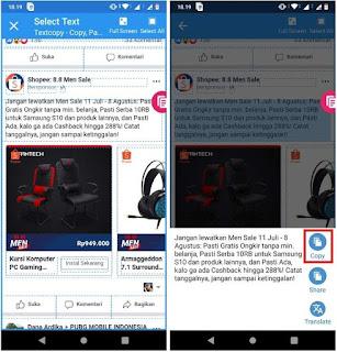 Cara Salin Teks Tertentu di Facebook Mobile