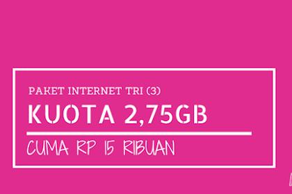 Paket 4G LTE Tri 2.75GB Cuma 15 ribu (750MB + 2GB 4G berlaku 7 hari), Caranya Begini?