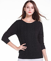V28 Women's Cable Knit Crew Neck Bateau Neckline Tunic Sweater