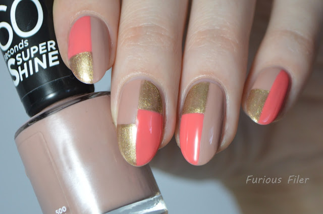 colour color block nail art tutorial peach gold