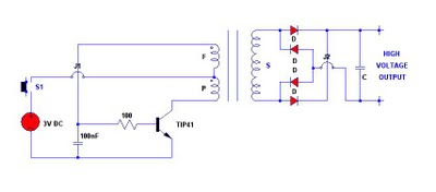 3V electronic stun gun circuit diagram