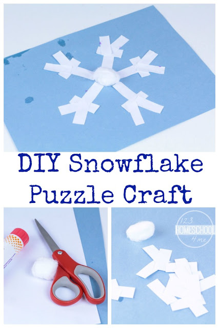 Snowflake Puzzle Craft is perfect for celebrating winter with a fun kids activity for toddler, preschool, kindergarten, first grade and 2nd grade kids.