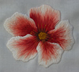 a rose embroidered with fine strands of thread to indicate the colours of the rose