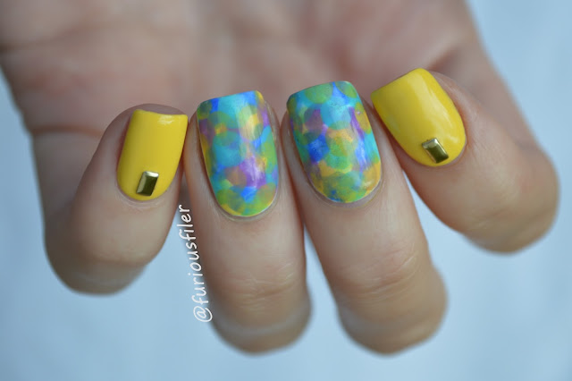 #31dc2015 yellow studded nails nimbus technique