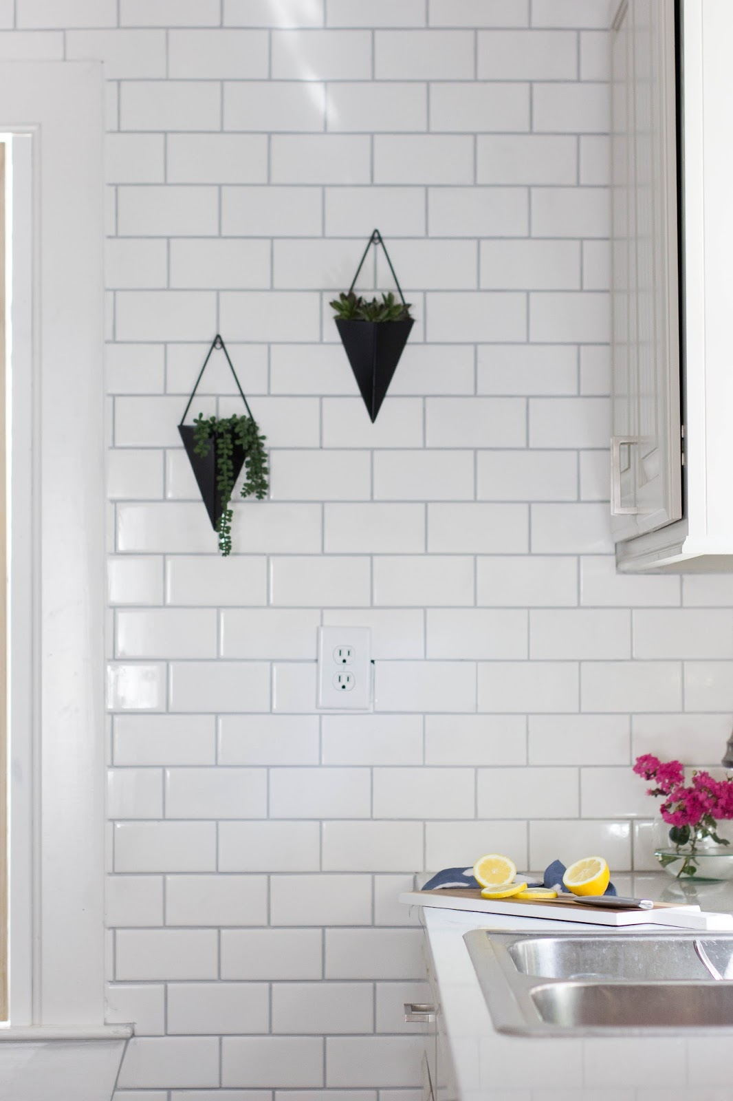 Always Rooney Before After Floor To Ceiling Subway Tile Wall In The Kitchen