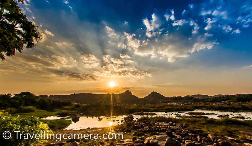 Tungbhadra River : The beautiful Hampi is around Tungbhadra river and it's approachable from many of these monuments in Hampi. Supposedly there are crocodiles in the river and at some of the places you would see signs mentioning the same. We wanted to witness sunset around Tungbhadra but had to move back early as green-rickshaws stop operating after a particular time (6pm I guess, but not sure).  One needs to walk a lot in Hampi to explore these heritage sites and when you feel like relaxing river-side can be a best place to sit down and enjoy the views or the serenity.