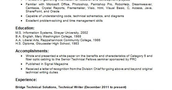 technical writer resume creator in word format free download
