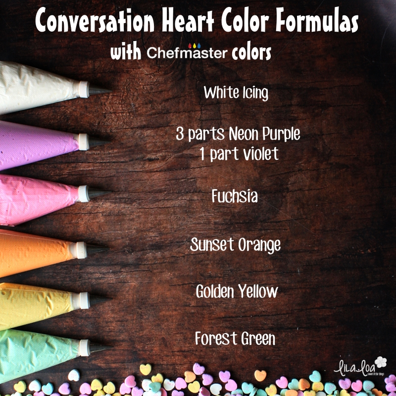 Chefmaster color formulas for conversation heart candy colors