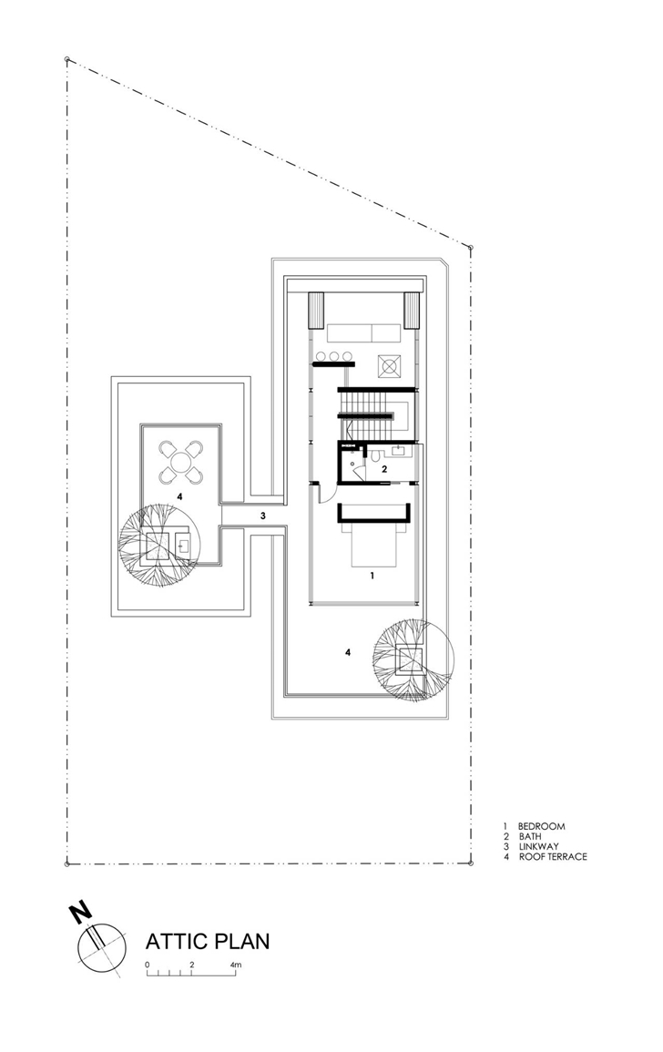Attic floor plan of Travertine Dream House by Wallflower Architecture + Design