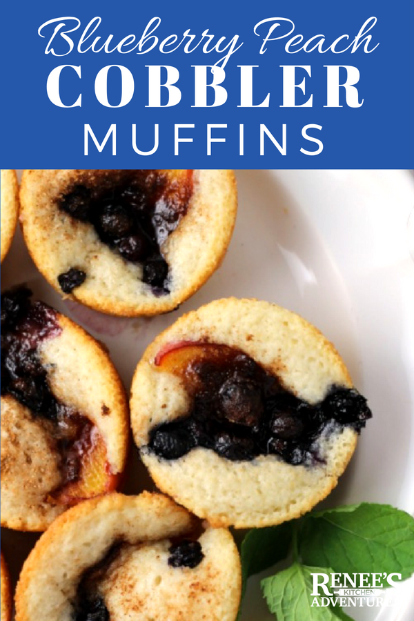 Blueberry-Peach Cobbler Muffins | by Renee's Kitchen Adventures - easy dessert recipe using fresh blueberries and peaches with a light cobbler muffin base.  Perfect for dessert or snack anytime of the day! #RKArecipes #Peach #Blueberries