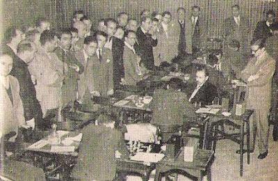 Sala de juego del XVIII Campeonato de España de Ajedrez 1957