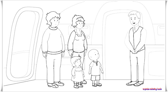 CAILLOU TAKES A PLANE COLORING