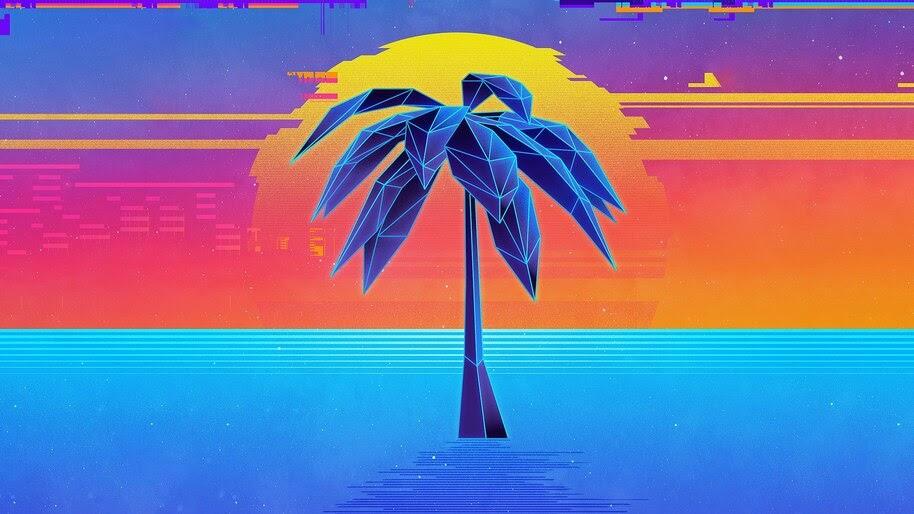 Sunset, Palm, Tree, Digital Art, 4K, #4.2025