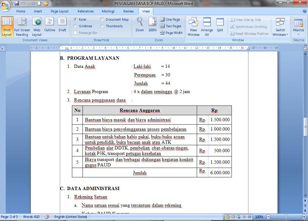 Contoh Pengajuan Dana Operasional Penyelenggaraan PAUD Terbaru 2016 Format Microsoft Word