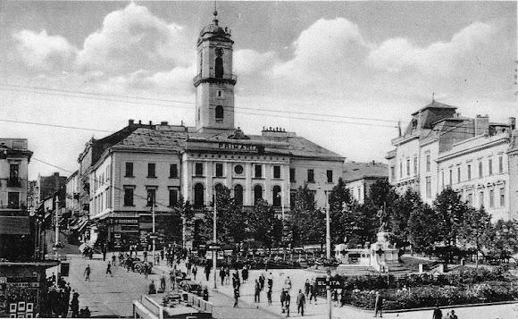 Чернівці. Центральна площа. 1918-1940 р.р. – площа Возз'єднання (Piata Unirii) (в румунський період)