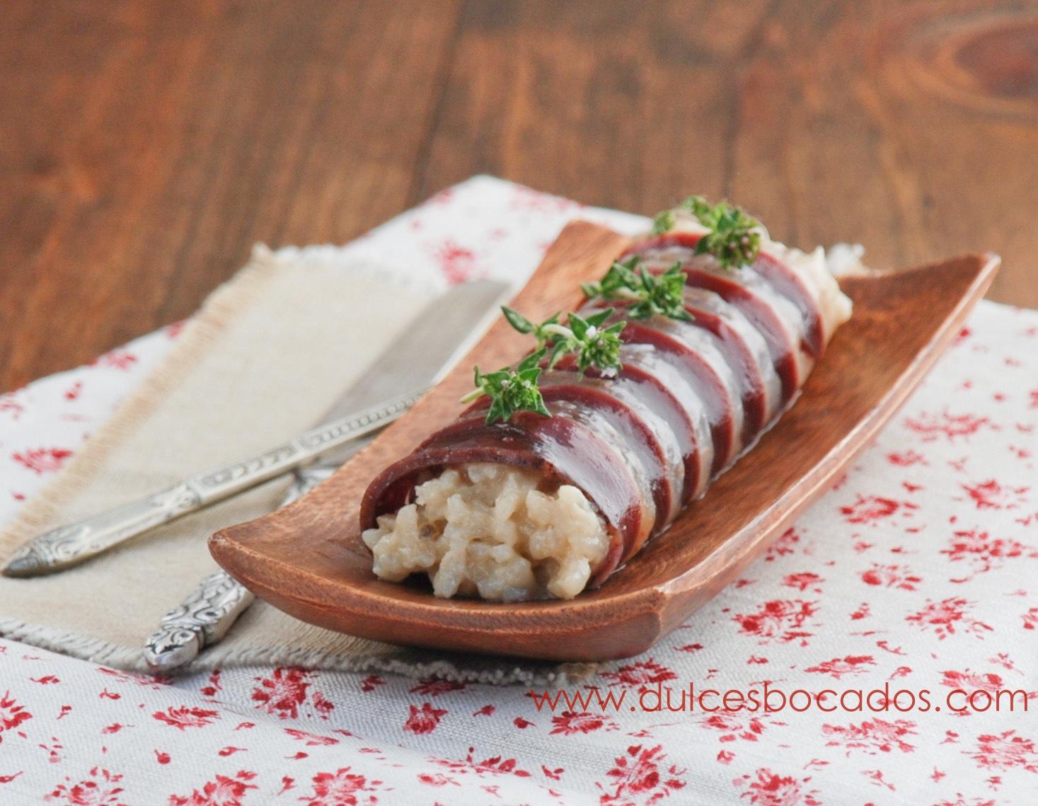 Canelón de jamón de pato y risotto