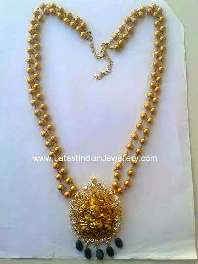 Ganesh Pendant Gold Beaded Haram