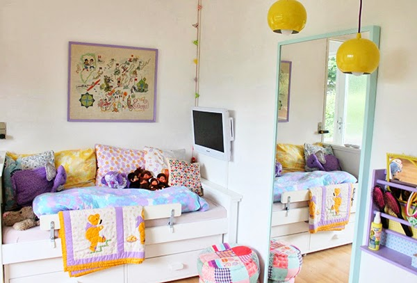 colourful childrens bedroom, retro ceiling lights, patchwork pouffe and built in bed