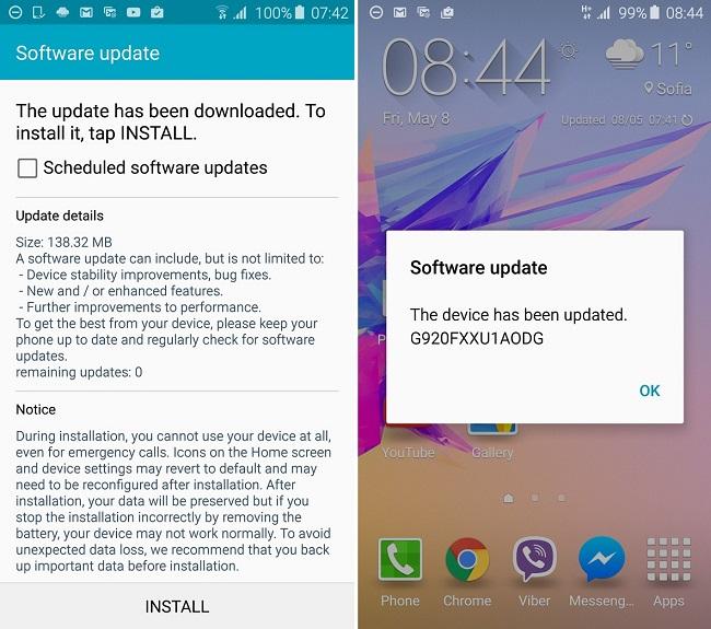 Atualização G920FXXU1AODG para o Galaxy S6
