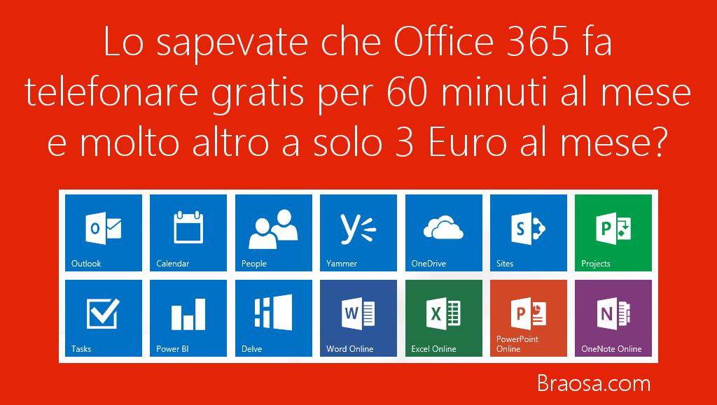 Microsoft Office 360 Home fa telefonare 60 minuti al mese a solo 3 euro