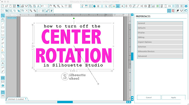 Silhouette Studio, remove center rotation, turn off center rotation