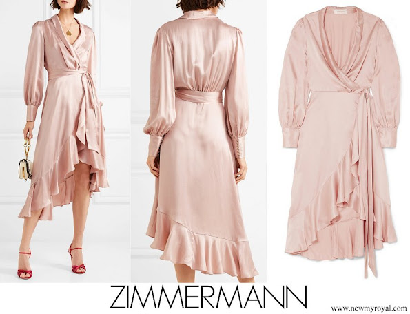 Princess Madeleine wore ZIMMERMANN Ruffled washed silk wrap dress