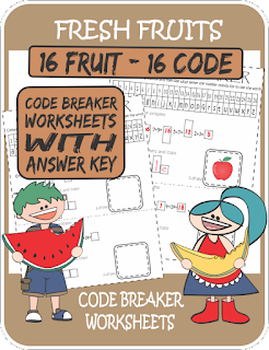 ESL Fruits Code Breaker Worksheets Printables