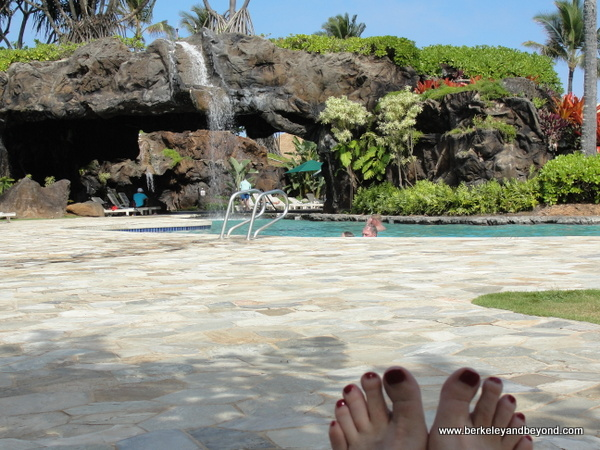 pool-side toes at Aqua Kauai Beach Resort in Lihue, Kauai, Hawaii